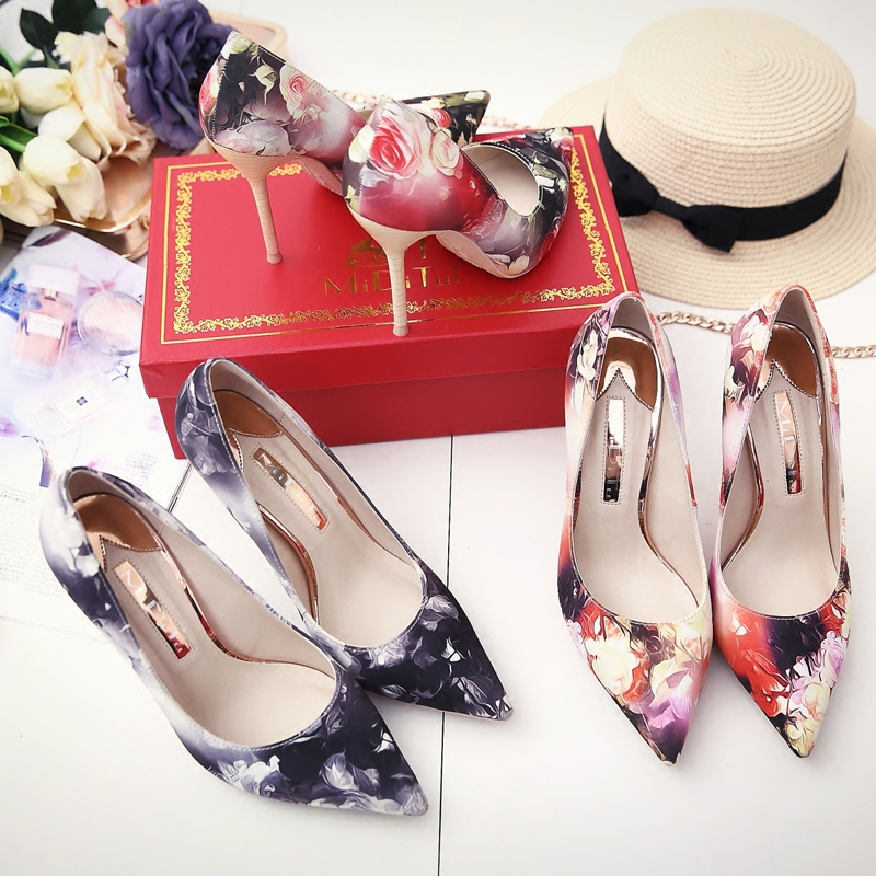 Brand Shoes Woman High Heels Women Pumps Stiletto Thin Heel pumps Flower printed Pointed Toe High Heels Wedding Shoes size33-43 aidocrystal shoes woman high heels women pumps stiletto thin heel women s shoes pointed toe high heels wedding shoes size 35 42