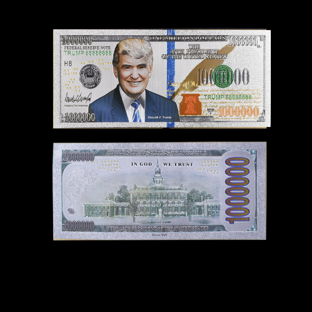 US Silver Plated Banknote 45th President Donald Trump Commemorative Copy US 1 Million Dollars Foil Paper Money Collections image