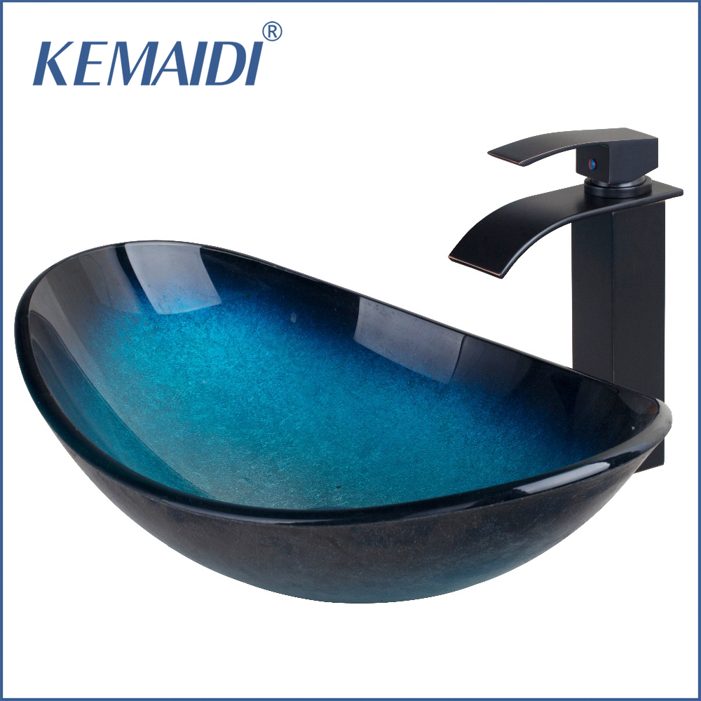 Modern bathroom glass sinks - Kemaidi Art Design Bathroom Modern Oval Artistic Glass Vessel Sink W Oil Rubbed Bronze Faucet