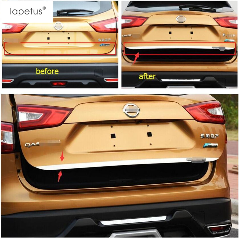 Lapetus <font><b>Accessories</b></font> For <font><b>Nissan</b></font> <font><b>Qashqai</b></font> J11 <font><b>2014</b></font> - 2017 Chrome Tail Gate Door Cover Trim Rear Trunk Molding Bezel Styling Sticker image