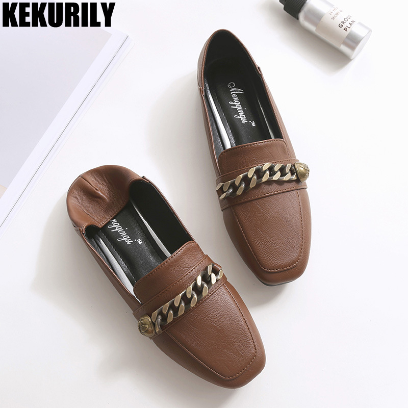 Woman Shoes Casual Flats Loafers Metal Chain Square toe Slides Slip on Zapatos mujer Plus Size Mocasine Black Army Green Brown odetina 2017 new women pointed metal toe loafers women ballerina flats black ladies slip on flats plus size spring casual shoes