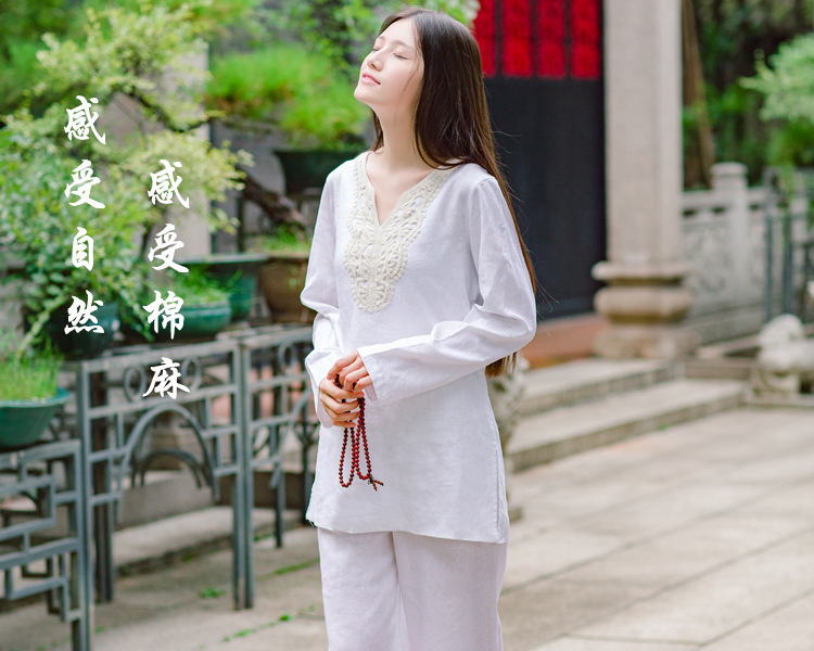 Купить с кэшбэком Women's meditation Sport Clothing cotton Hemp Yoga suits women's Large size special fitness clothes autumn Taichi Kungfu Uniform
