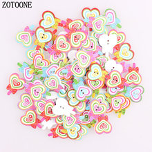 ZOTOONE 50pcs Heart Candy 2 Hole Button Kid Baby Children Wooden Buttons for Scrapbooking DIY Crafts Clothing Sewing Accessories
