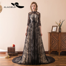 Alagirls Black Lace Evening Dress 2019 A line Illusion Gown vestido longo New Arrival Prom Party