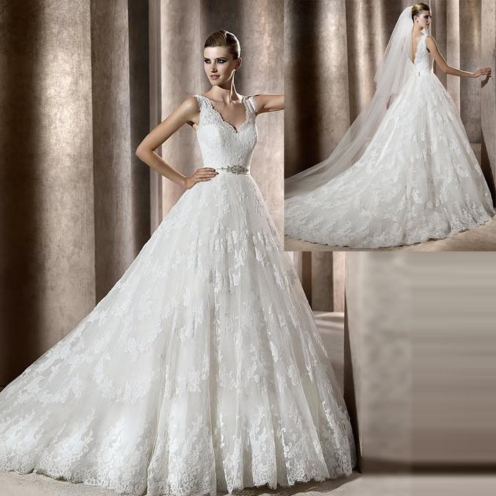 Lace Wedding Gown Designer: Free Shipping Sexy A Line Straps Sleeveless Chapel Train