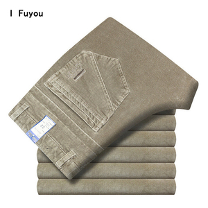 Image 1 - Autumn and winter Corduroy pants men business casual pants loose elastic middle aged straight pants thicken corduroy trousers