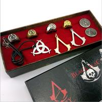 Animatie Assassins Creed Ketting Broche Ringen Set Game Cosplay Accessoires Box Set Gift Collecties voor Kinderen