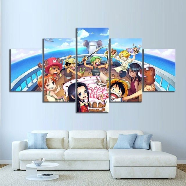 Canvas Hd Printed Pictures Wall Art Painting 5 Pcs One Piece The Hat Cartoon Modern Home Decoration Modular Poster