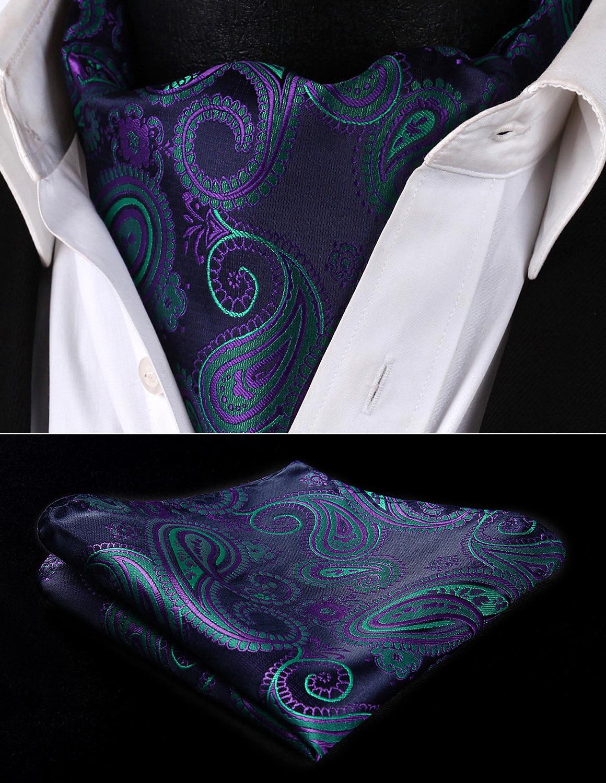Party Classic Pocket Square Wedding RF427GS Navy Blue Green Paisley Men Silk Cravat Ascot Tie Handkerchief