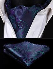 Partei Klassische Einstecktuch Hochzeit RF427GS Marineblau Grüne Paisley Männer Silk Halstuch Ascot Krawatte Taschentuch Set