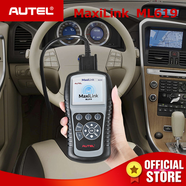 Flash Promo Autel MaxiLink ML619 CAN OBD2 Scanner ABS SRS AirBag Auto Diagnostic Scan Tool EOBD OBDII Code Reader PK AutoLink AL619 AL319