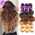 Eurasian Virgin Hair Ombre Body Wave T1B/4/27 Eurasian Human Hair 4 Bundles Deals Cheap Body Wave 3 Tone Ombre Human Hair Weave