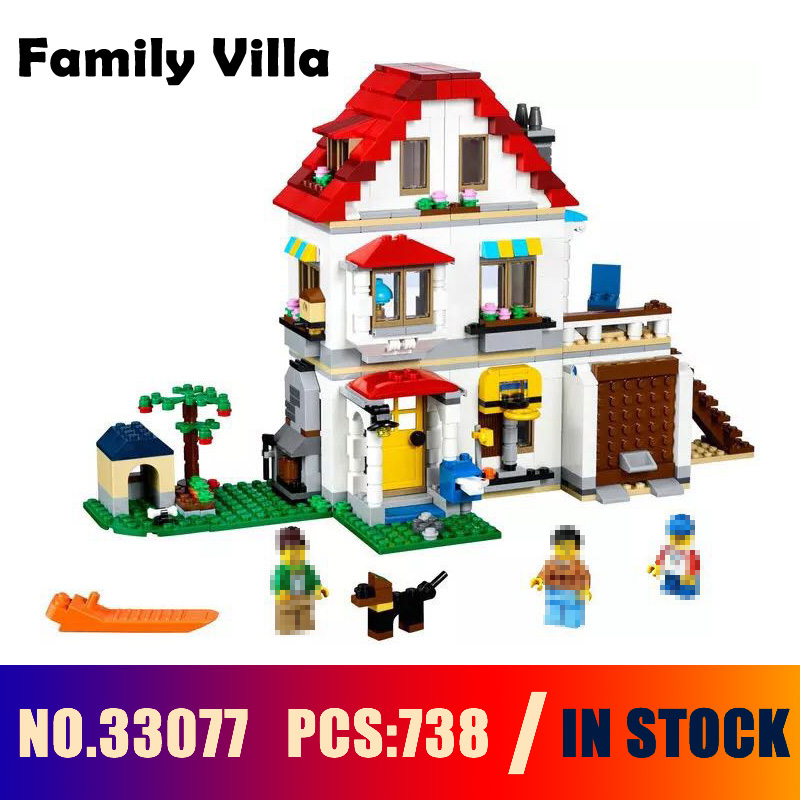 Compatible with lego 31069 Models building toy 33077 738PCS Creative Series Family Villa Building Blocks toys & hobbies