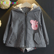 2-6Years/Spring Autumn Kids Jackets For Baby Girls Clothes Cartoon Stripe Hooded Infant Coats Outerwear Children Clothing BC1409