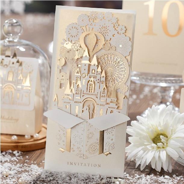 New European Free Printing Envelope Castle Laser Cut Invitation Cards For Wedding 30pc Romantic