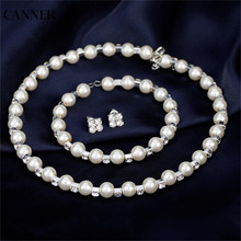 Canner Pearl Wedding Necklace Earring Sets Crystal Bridal Jewelry Sets For Women Statement Jewelry недорого