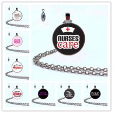 Fashion I'm The Nice Nurse Double sided Glass Cabochon Necklace the most kind person Doctor nurse best charm Necklace gifts(China)