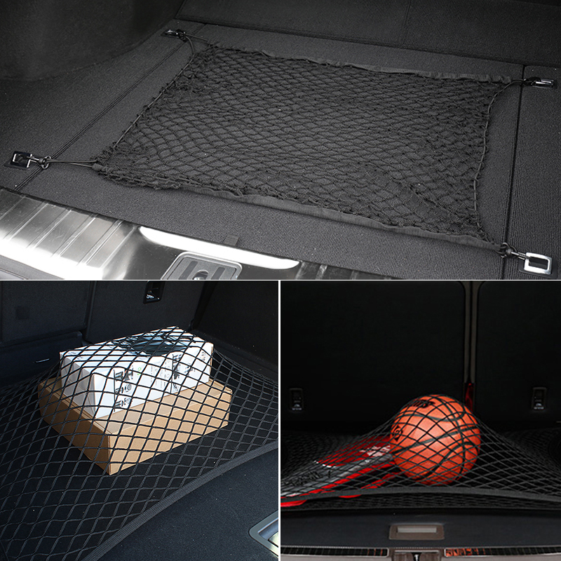 Car Mesh Cargo Net Holder Trunk Auto Elastic Storage 4 Hook For <font><b>Audi</b></font> <font><b>A3</b></font> A4 A5 A6 A7 A8 B6 B7 B8 C5 C6 TT Q3 Q5 Q7 S3 S4 image