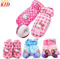 5-10T Baby Girls Winter Gloves Hello Kitty Thick Ski Snow Gloves Children Thick Winter Mittens Fleece waterproof gloves KA004