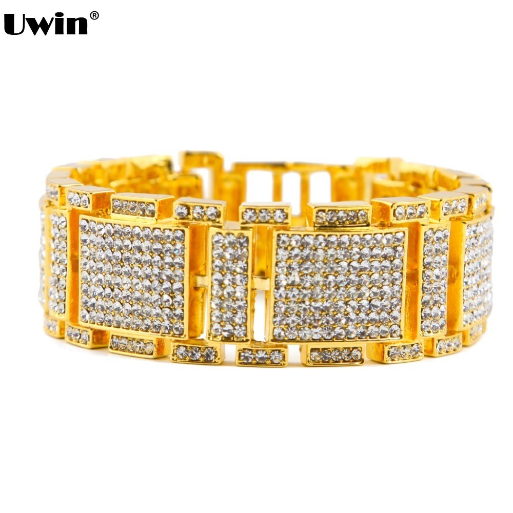 Hip Hop Charm Silver&Gold Color Mens Bling Iced Bracelet Covered White Simulated Rhinestones Clear Bracelets for Men