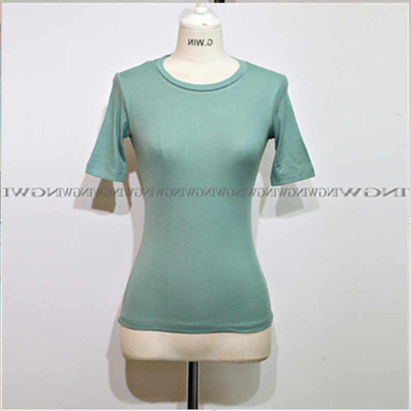 Летняя зеленая Новая женская футболка, базовая Повседневная футболка, женские футболки, хлопковая футболка, тонкий топ с коротким рукавом, женская футболка, джокер
