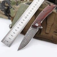 VG10 Damascu Wood Handle Bearing tumbling Folding Pocket Knife Camping EDC Hunting Hiking Gift Knives Outdoor Survival Gear