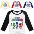 New Style 2017 Clothing Boys PJ T Shirt Cotton Long Sleeve Shirt Cartoon PJMASKS Kids Girl T-shirts Top Children Masks Clothes