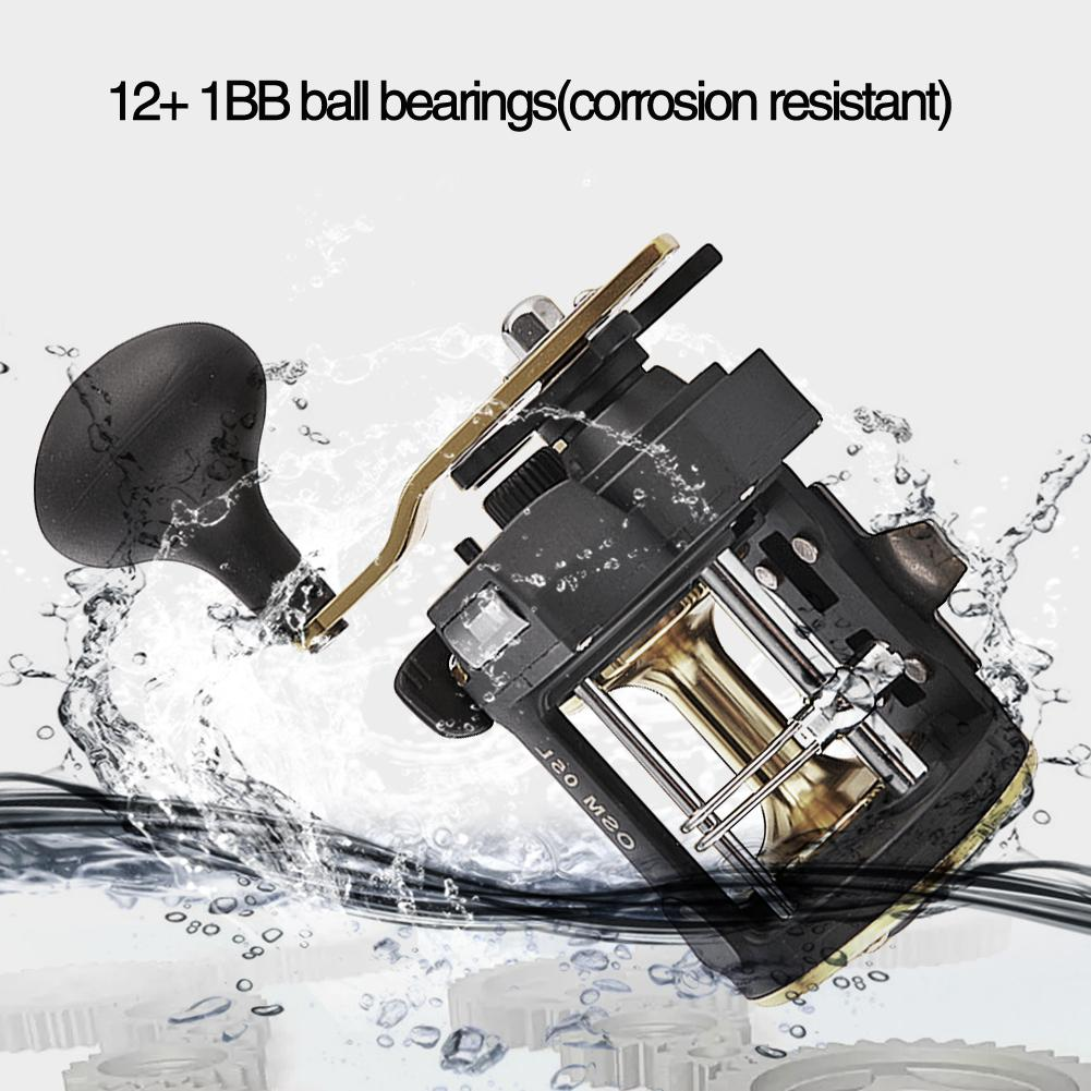 Mounchain Spinning Fishing Drum Reel Counter Alarm Bell 6 1 ratio Reel Vessel Trolling Boat Plate