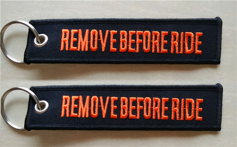 Les couillons comptez-vous ! Remove-Before-Ride-Moto-Motocycle-Fabric-Embroidery-Keychain-Key-Tag