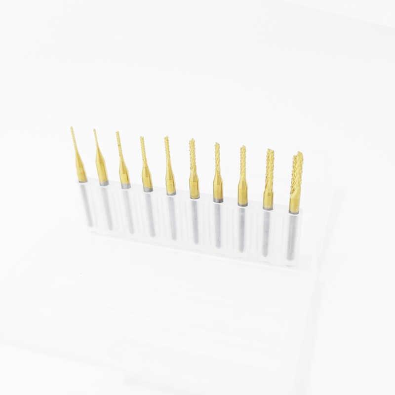 1 Pcs 0.8 Mm-3.175 Mm Titanium Dilapisi Carbide Milling Cutter Engraving Pemotong Tepi CNC Router Bit End Mill untuk Mesin PCB