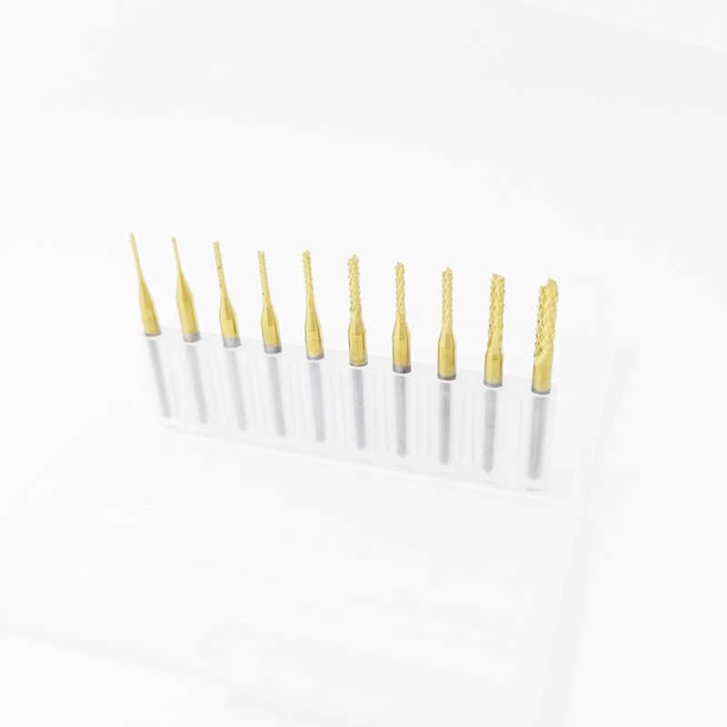 1 sztuk 0.8mm-3.175mm pokryte tytanem węglika frez grawerowanie nożyce do przycinania brzegów frezy CNC frez trzpieniowy do maszyny PCB