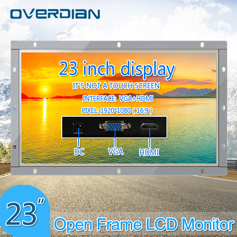 23Inch VGA/HDMI Interface Industrial Monitor/Display 1920*1080 Metal Shell Non-Touch Screen Monitor For PC Open Frame
