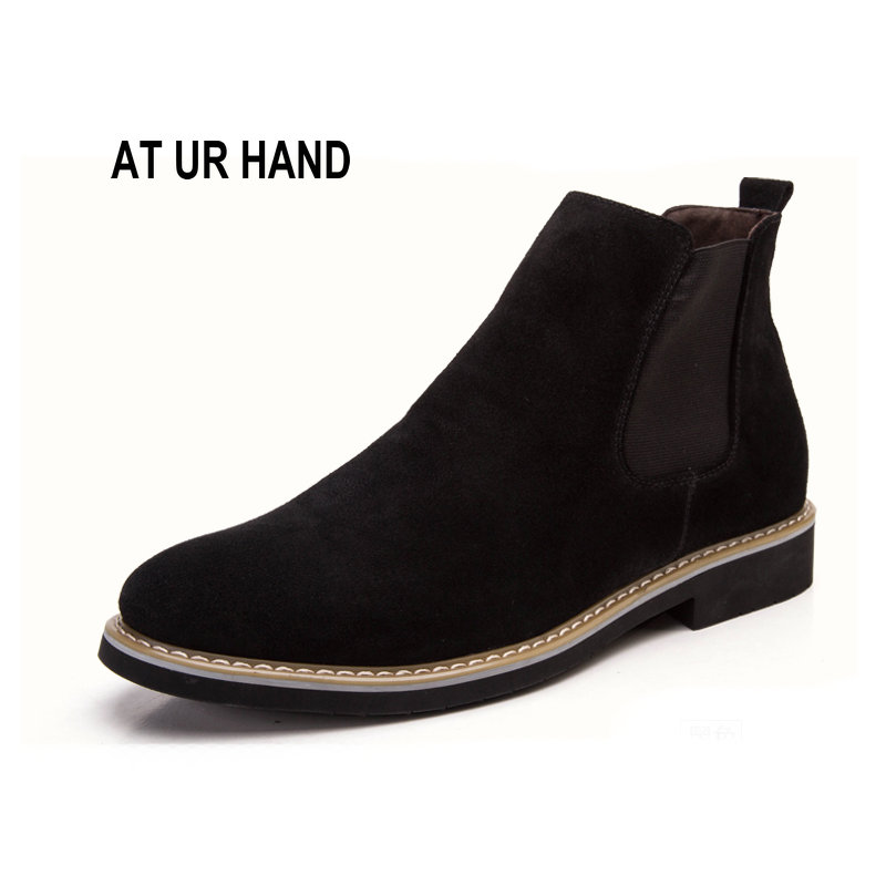 New Chelsea Boots Men Suede Hombre Martin Boots Low Heel Nubuck Leather Ankle Boots Vintage Sewing