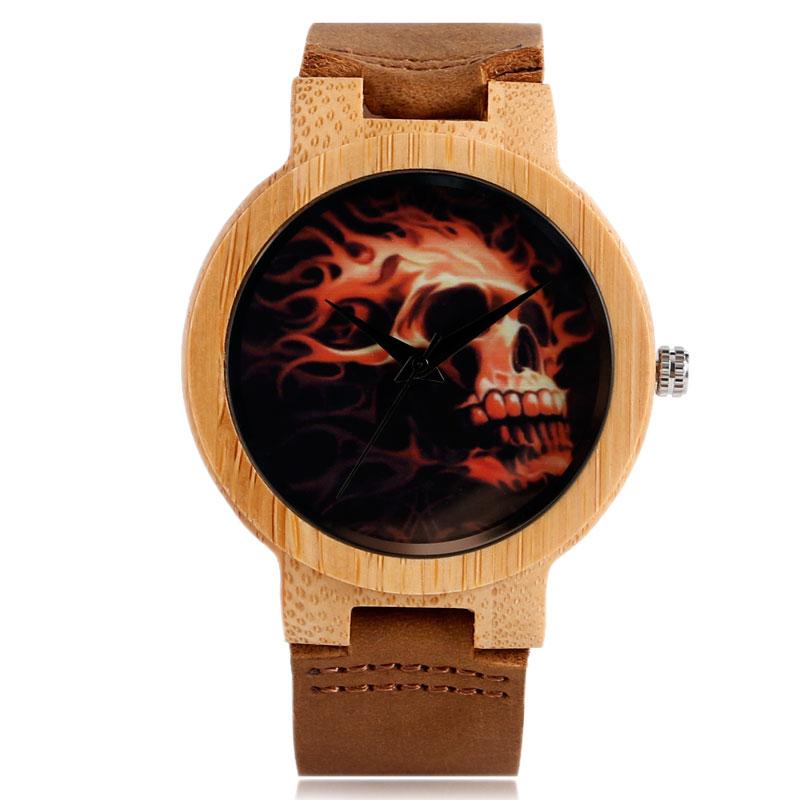 Yisuya Для мужчин Часы своих череп шаблон Современные бамбука случае Пояса из натуральной кожи ремешок кварцевые
