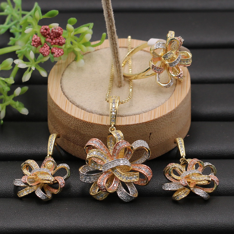 Lanyika Jewelry Set Exaggerated Graceful Ribbon Flower Micro Plated Necklace with Earrings and Ring for Engagement Popular Gifts