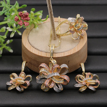 Lanyika conjunto de jóias exagerada graciosa fita flor micro banhado colar com brincos e anel para o noivado presentes populares