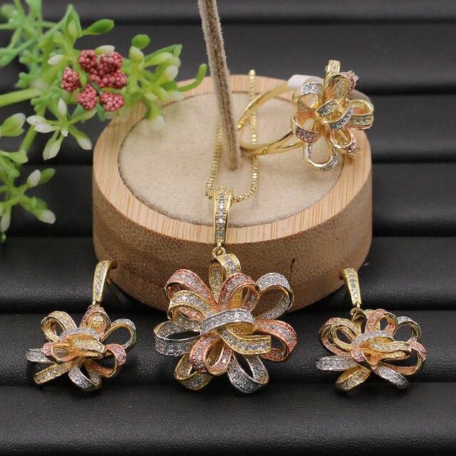 Lanyika תכשיטי סט מוגזמת חינני סרט פרח מיקרו מצופה שרשרת עם עגילים וטבעת אירוסין פופולרי מתנות