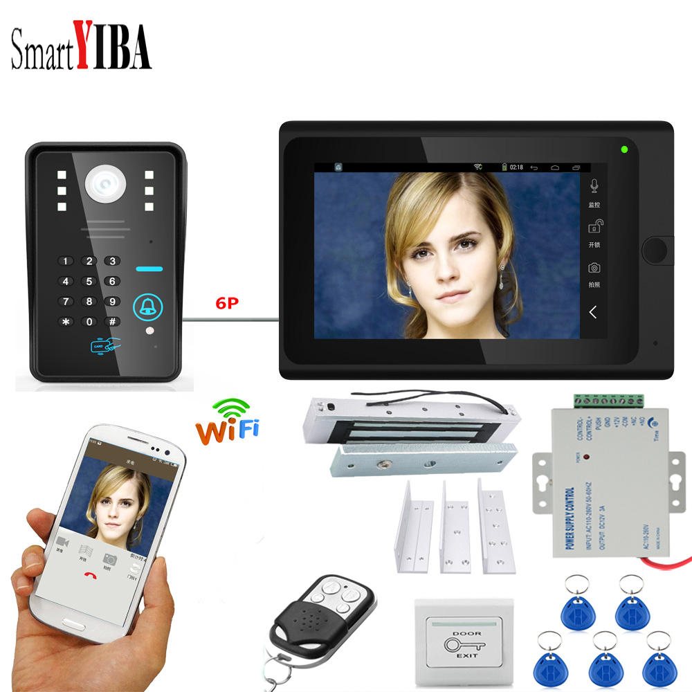 SmartYIBA WIFI App Remote Password RFID Unlock 7 LCD IP Intercom Video Intercom with Door Lock