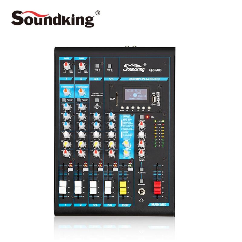 все цены на Soundking Portable Mixing Console Pro Audio Mixer USB/SD Audio recording Bluetooth playback facility 48V Phantom Power A05/06/08 онлайн