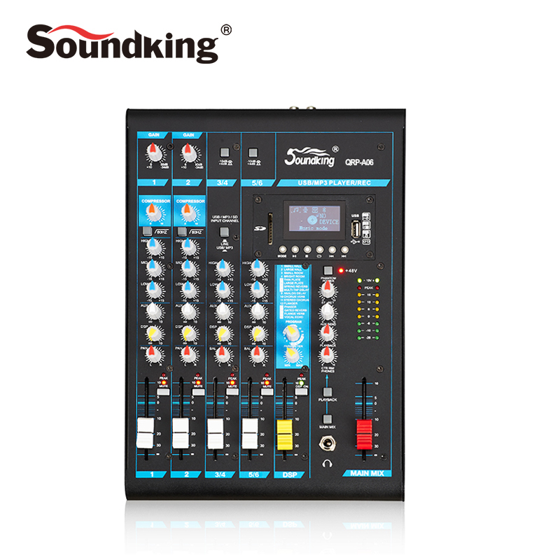 Soundking Portable Mixing Console Pro Audio Mixer USB/SD Audio recording Bluetooth playback facility 48V Phantom Power A05/06/08