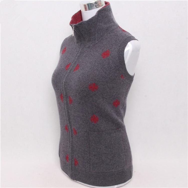 Light S Grey Mode Gilet red Cardigan Tricot Sans 3 4xl Cachemire Imprimé Pur Pull Chèvre Montant Grey Femmes dark Rouge Zipper Col Manches Couleur RTWHqwY