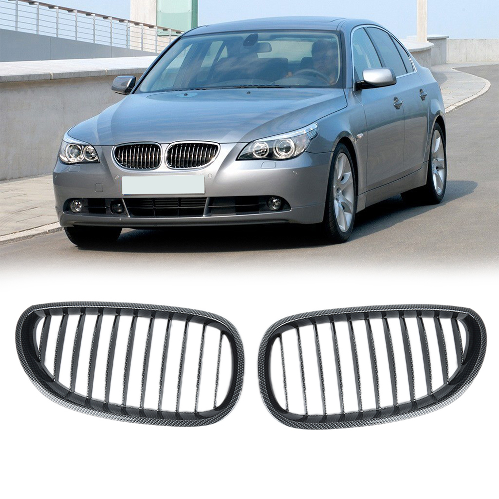 Liplasting 1 Pair Carbon Fiber Front Kidney Grille for BMW 2003-2009 E60 E61 5 Series M5 Car-styling Racing Grills цена