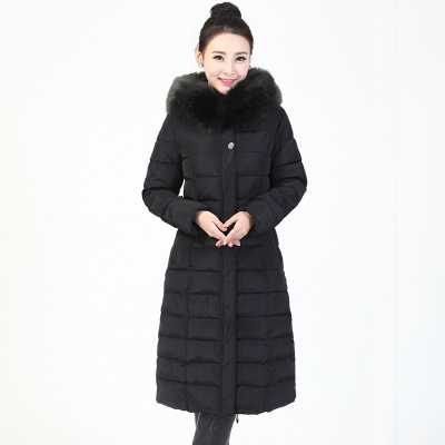 New Arrival Fashion Winter Detachable Hooded Fur Collar Over-Long Plus Size Thick Cotton Jackets Outwears Women Coat H6465