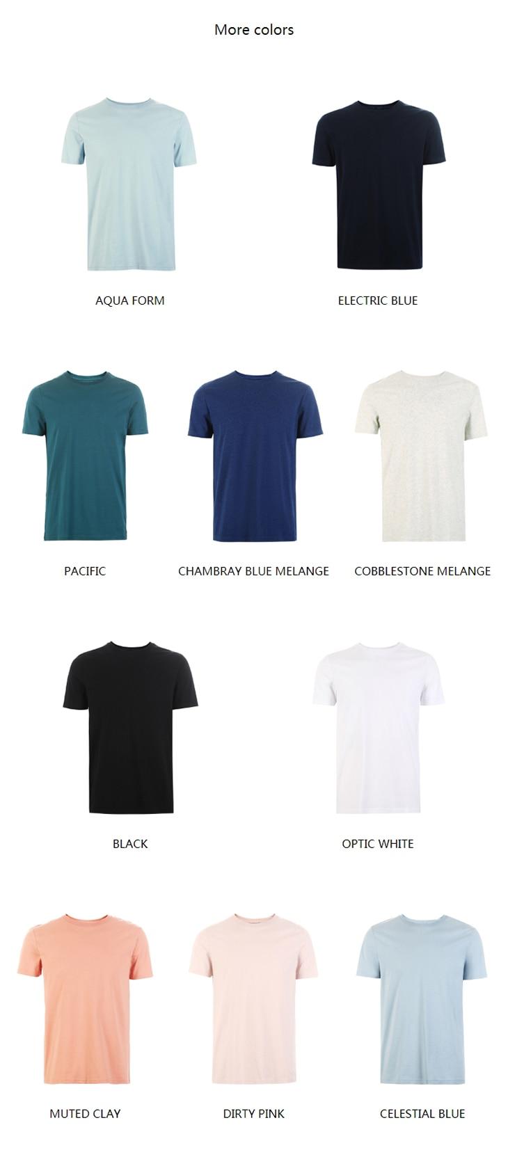 Men's Summer 100% Cotton Pure Color Round Neckline Short-sleeved T-shirt 16