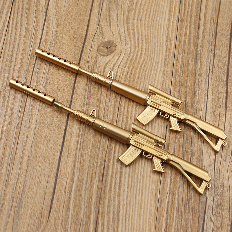 2 pcs Cute Funny Kawaii Pens Canetas Rollerball Pen School Supplies Papelaria Creative Gold Gun Shape Ballpoint Pen Stationery