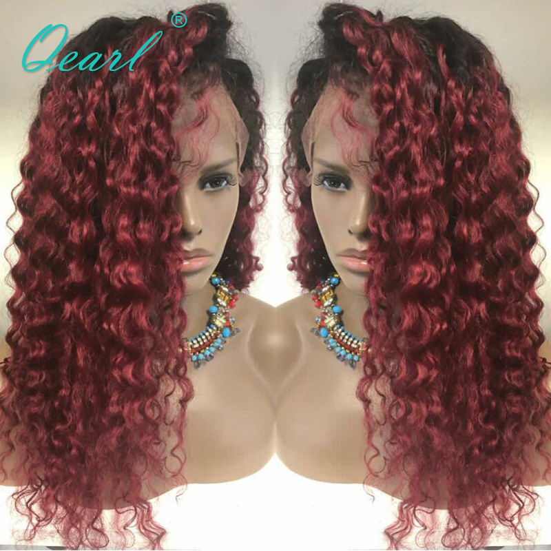Qearl Natural Red 99j Ombre Color Lace Front Wigs Malaysian Remy Kinky Curly Human Hair Wigs