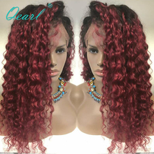Qearl Natural Red 99j Ombre Color Lace Front Wigs Malaysian Remy Kinky Curly Human Hair with Dark Roots 8-26
