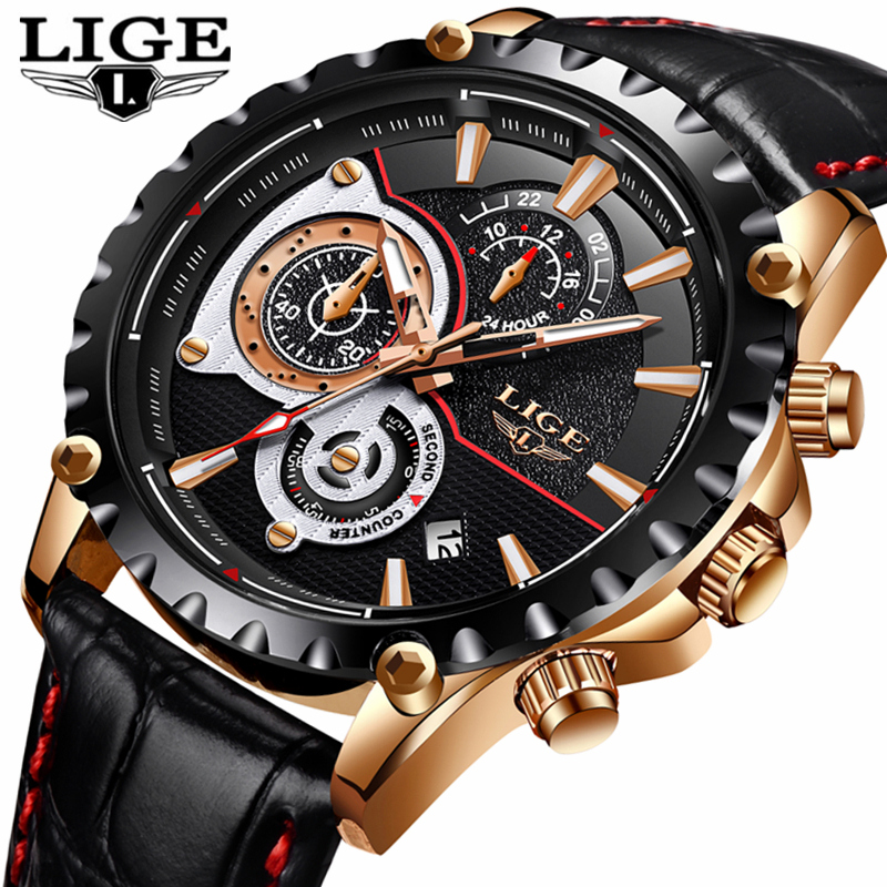 все цены на LIGE Mens Watches Top Brand Luxury Quartz Gold Watch Men Casual Leather Military Waterproof Sport Wrist Watch Relojes Hombre