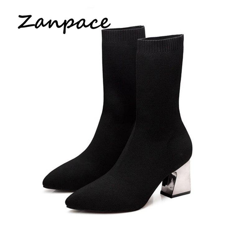 f4042ed1bb8 Cheap Nuevas botas elásticas para mujer otoño calcetines de lana de punto zapatos  tacones gruesos de