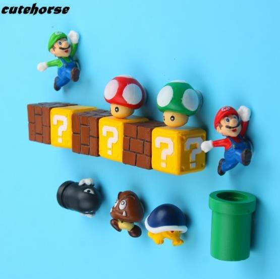 CUTEHORSE Super Mario cartoon series 3D decoration refrigerator stickers magnetic stickers message post fridge magnets
